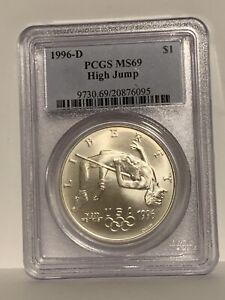1996-D US Atlanta Olympic - High Jump Commem BU Silver Dollar - PCGS MS69