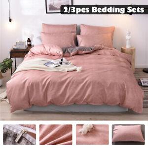 Pink Duvet Cover Pillow Case Quilt Cover Bedding Set Single Double King Size