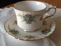 Royal Stafford True Love Pattern Fine Bone China Saucer And Tea Cup 24k