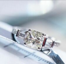 Engagement Ring 925 Sterling Silver 2Ct Cushion Cut White Moissanite Solitaire