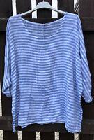 New Italian Lagenlook Striped Lightweight Cotton Linen Mix Nautical Stripe Top
