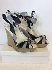 KAREN MILLEN BLACK & WHITE CHECK COTTON TIE LEG WEDGE HEEL SANDALS SIZE 6 / 39