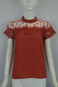 Women's Girls Pullover Sheer Top Lace Embroidered Spotty Patch Top Blouse S M