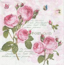 2 Serviettes en papier Fleur Roses Romantiques Paper Napkins Romantic Roses