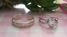 Rings Sterling Silver *Size Adjustable *U044 2 Beautiful Heart Cz Engraved Toe