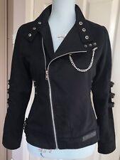 SDL Women's Black Biker Jacket Coat. Punk Goth Alt Moto Chains Buckles. Sz Small