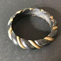 """2-1/2"""" Vintage Brass and Black Plastic Bangle Bracelet"""