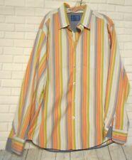 Tommy Bahama Denim XL White Green Orange Blue Striped Long Sleeve Cotton  Shirt