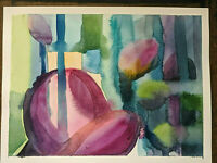 "Original Abstract Watercolor Painting 12"" x  9"""