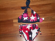 NWT JUSTICE GIRL SWIMSUIT 2 PC BIKINI RED WHITE BLUE STARS REVERSIBLE SZ 6 NEW