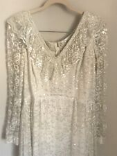 Vintage Tall Plus Size Handmade Lace Beaded Wedding Dress Silver Off White