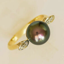 PEARL RING 9.4mm BLACK FRESHWATER PEARL GENUINE DIAMONDS 14K GOLD SIZE P NEW