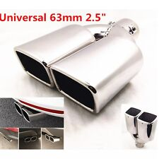 "63mm 2.5"" Car Stainless Steel Chrome Square EXHAUST Tail Muffler Tip Pipe Cover"