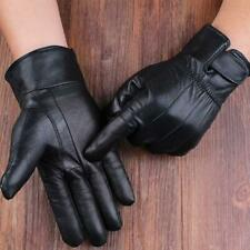 Men's Real Leather Gloves Winter Fleece Lined Soft Driving Black Strap Gloves