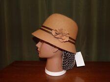 Ladies Civil War Reenactor Tan Wool Hat with Flower to Design