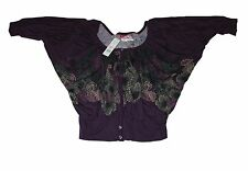 Elle Ladies Top Purple with Floral Print Size Small