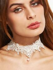 NEW..Stunning Beautiful Ivory Lace Choker with Pearl Dangle.Wedding.Gastby.