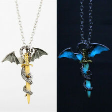 Glow In The Dark Cross Dragon Pendant Necklace Luminous Jewelry Long Chain Gift