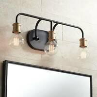 "Industrial Wall Light Black Brass 20"" 3-Light Fixture Non Glass Bathroom Vanity"