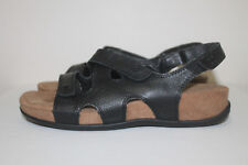 b8c048dbba82 Cobbie Cuddlers Memo Tech Black Leather Adjustable Straps Women s Sandals  Size 9