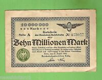 1923  GERMANY  10  MILLION  MARK  BANKNOTE  No. 453057