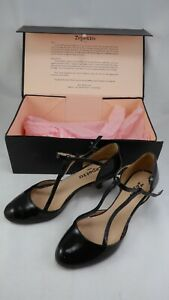 Repetto Low Heel Double T Strap Black Patent Leather Dancing Shoes Elegant UK 6