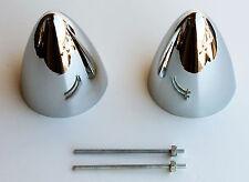 2 Bullet Nose Bullit Hub cap centers NEW Chrome C8054