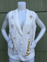 Ugly Christmas Sweater Vest Large White & Gold by Holiday Editions