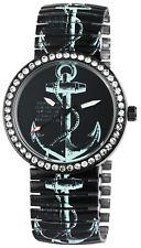 Excellanc Damen Armbanduhr Metallzugband Zugband Uhr Anker Maritim 40 mm schwarz
