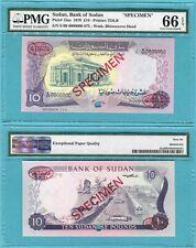Sudan 10 Pounds 1970 P15as UNC - Specimen TDLR oval / PMG graded GEM66EPQ