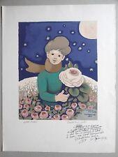 Madeleine LUKA Lithographie originale EA Le petit prince St Exupéry Rose Envoi