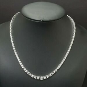 Certified..! 4Carat Round Diamond Illusion Tennis Necklace, In White Gold