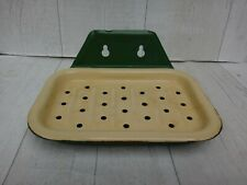 More details for vintage kitchen enamel soap dish - green & cream