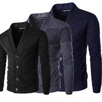 Stylish Mens Slim Fit V Neck Knitwear Pullover Cardigan Sweater Jacket Coat Top~