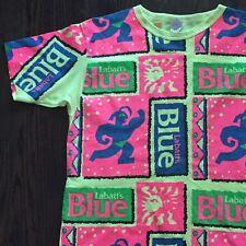 Labatts Blue Beer Canada Fluorescent Neon Aztec Vtg 80s Mens Promo Tshirt XL
