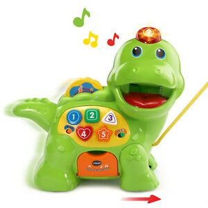 VTech Chomp and Count Dino Colors Food Shapes Counting Walk Along Toy Toddler