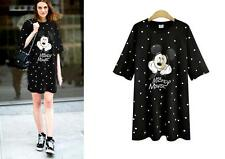 black white mickey cartoon Summer Style Women Casual Plus Size Dress Clothing