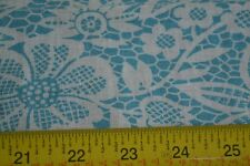 """45"""" Long x 36"""" Wide Vintage Feedsack Cotton, Turquoise Floral on White, N1206"""