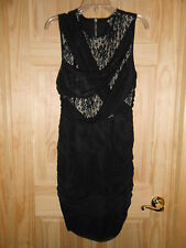 NEW DEB sz 14 Sleeveless Little Black Dress Tan w/ Black Lace Short Rouched Sexy