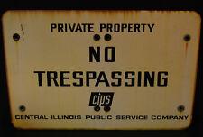 LARGE Industrial Antique Porcelain Enameled No Trespassing Private Property Sign