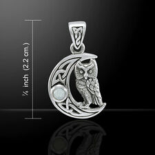 Owl on Crescent Moon Rainbow Moonstone .925 Sterling Silver Pendant Peter Stone