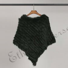 Black Vintage Real Farms Rabbit Fur Wraps Shawl Scarf Cape Poncho Vest Grey NEW