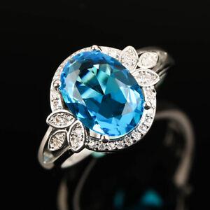 Elegant 925 Silver Rings for Women Oval Cut Aquamarine Wedding Jewelry Size 6-10