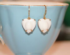 Vintage Egyptian revival White glass heart scarab beetle raised relief earrings