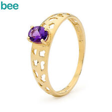 Solitaire Natural Amethyst Yellow Gold Fine Rings