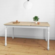 Rhode Island Wooden Extendable Dining Table In White Natural 6 Seater Rhd009