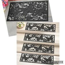 5 PC Butterfly Scroll Pattern Black Rubber Outdoor Stair Treads Step & Door Mats