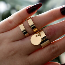 2Pcs Gold Punk Boho Stack Plain Above Knuckle Ring Midi Finger Rings Set Gift