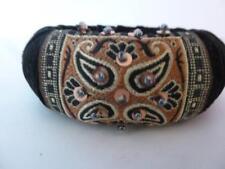 Bracelet Mod Vintage 1960/70s black velvet Bangle HTF 2 pairs clip on earrings