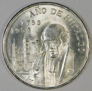 1953 Mexico BU 5 Pesos Hidalgo Silver Coin